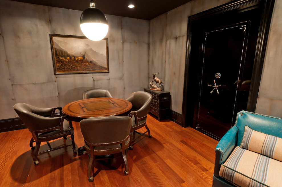 Small Fireproof Safe Basement Traditional with Brown Leather Chairs Deer Art Game Room Game Table Gun Room Hardwood