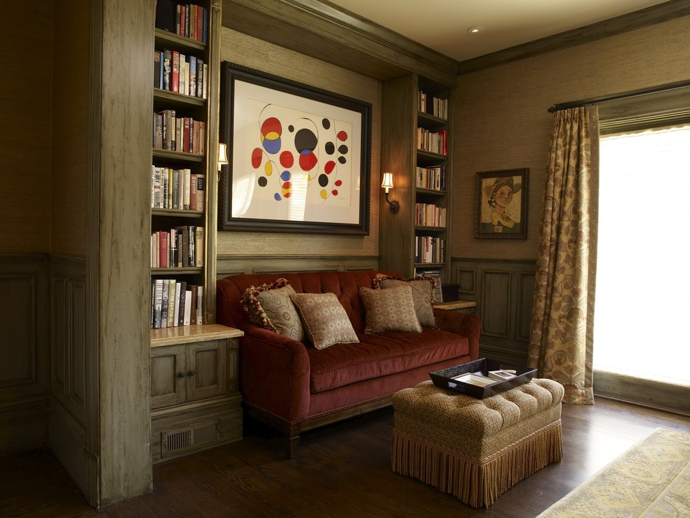 Small Loveseat Family Room Traditional with Art Calder Custom Bookcase Fabric Shade Fringe Gray Stain Raised Paneling Upholstered