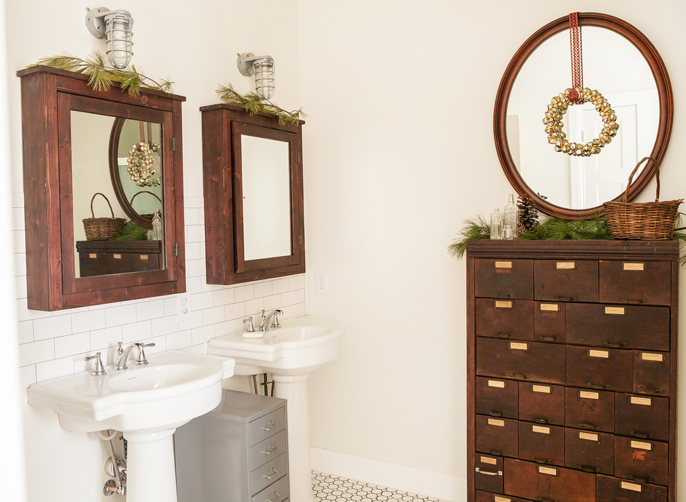 small pedestal sink Bathroom Rustic with beige wall Christmas double sink hexagon tile floor holiday octagon tile floor
