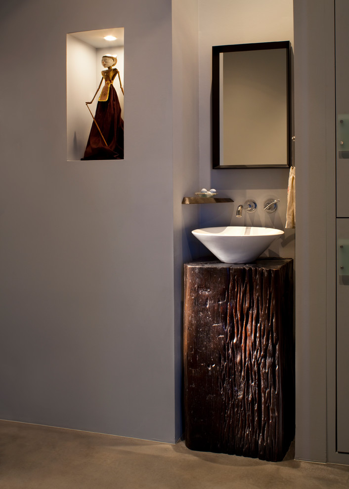 Small Pedestal Sink Powder Room Contemporary with Alcove Art Nook Bowl Sink Nook Pedestal Powder Room Timber Wall Faucet