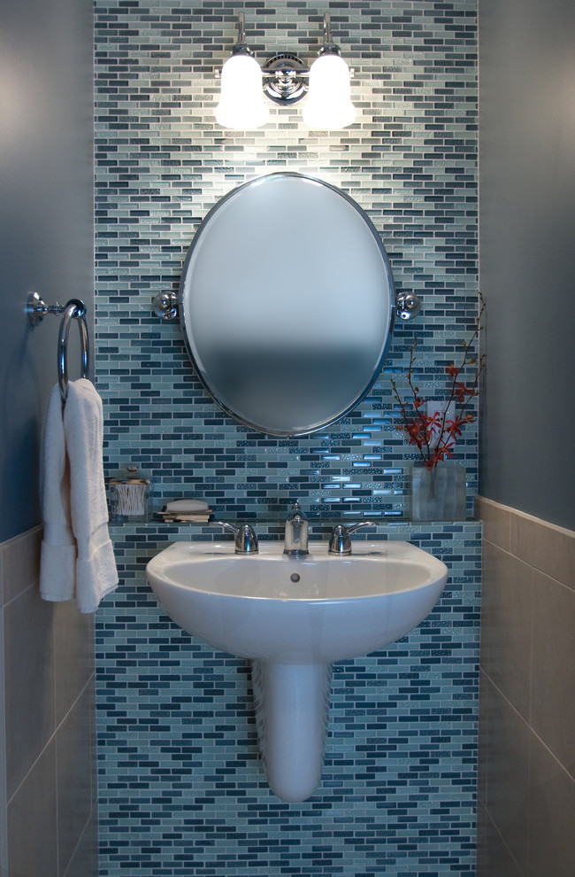 Small Pedestal Sink Powder Room Contemporary with Bathroom Blue Tiles Built in Shelf Contemporary Floating Sink Guest Bath Half Bath