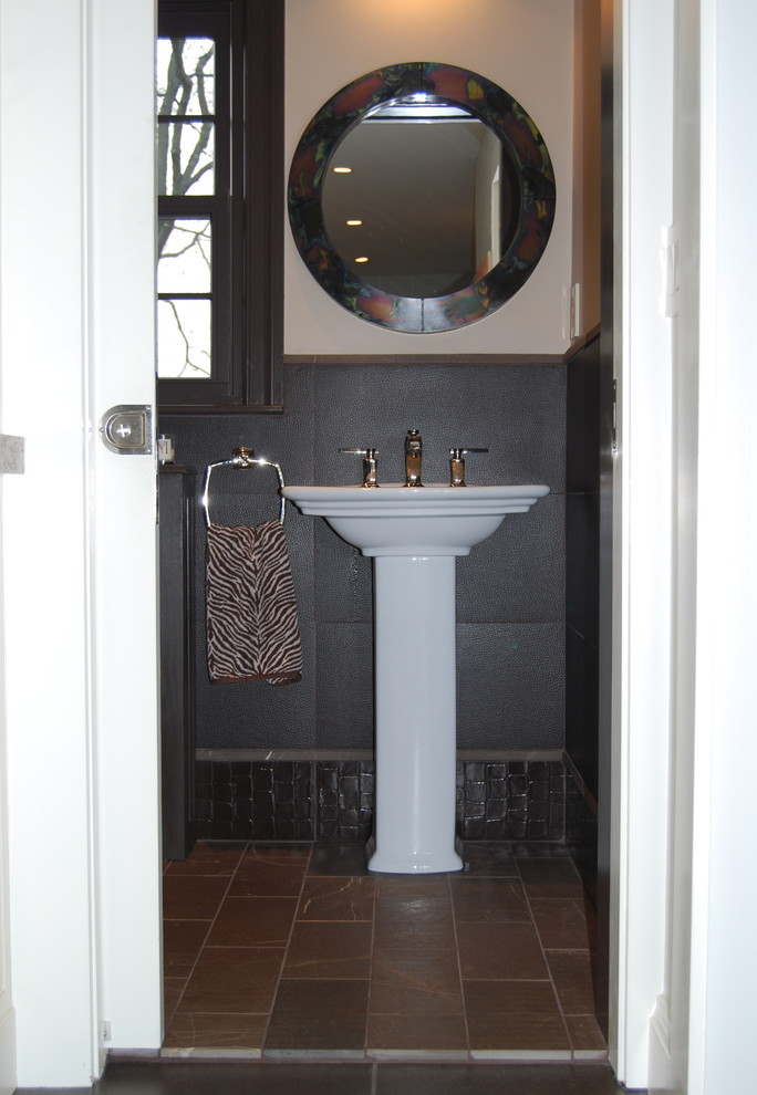 Small Pedestal Sink Powder Room Eclectic with Bathroom Pocket Door Brown Brown Crocodile Tile Brown Elephant Tile Brown Marble