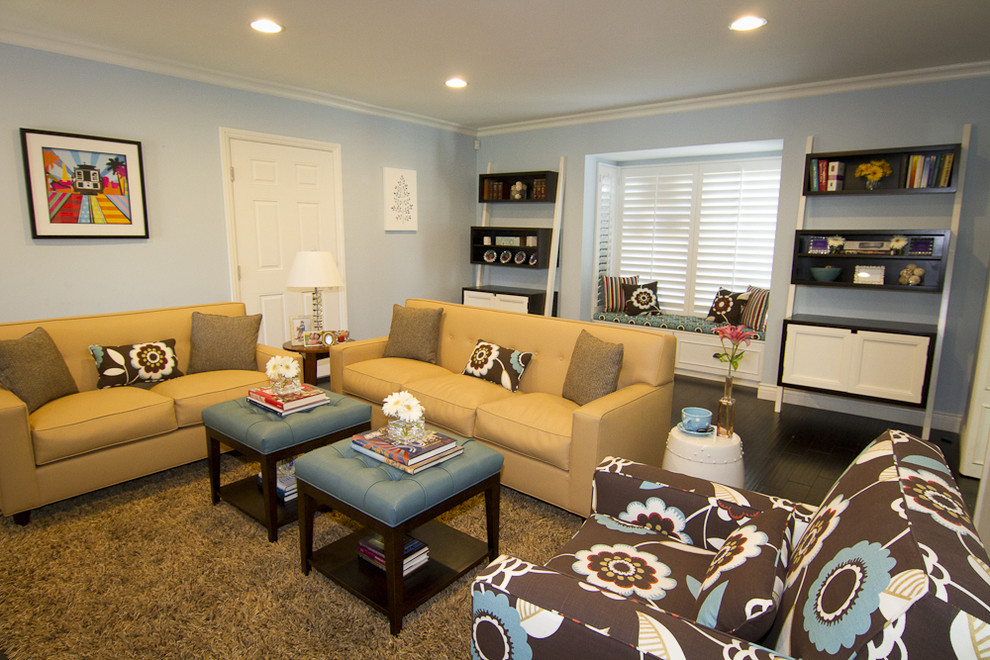 Small Storage Ottoman Family Room Contemporary With Angled Book Case Blue  And Tan Blue Ottomans Ceiling