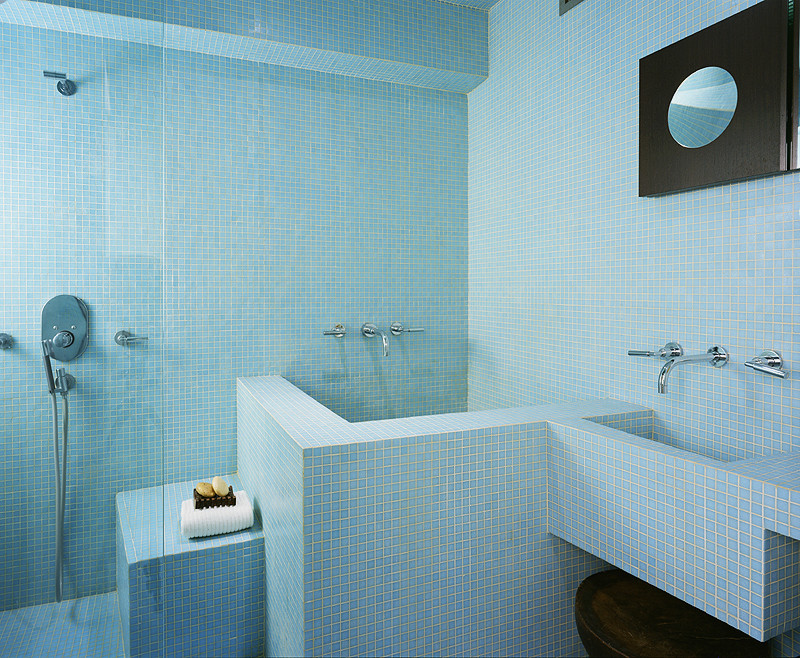 Soaker Tub Bathroom Modern with Blue Glass Mosaic Chrome Bath Fixtures Custom Sink Custom Made Sink Custom Made Tub