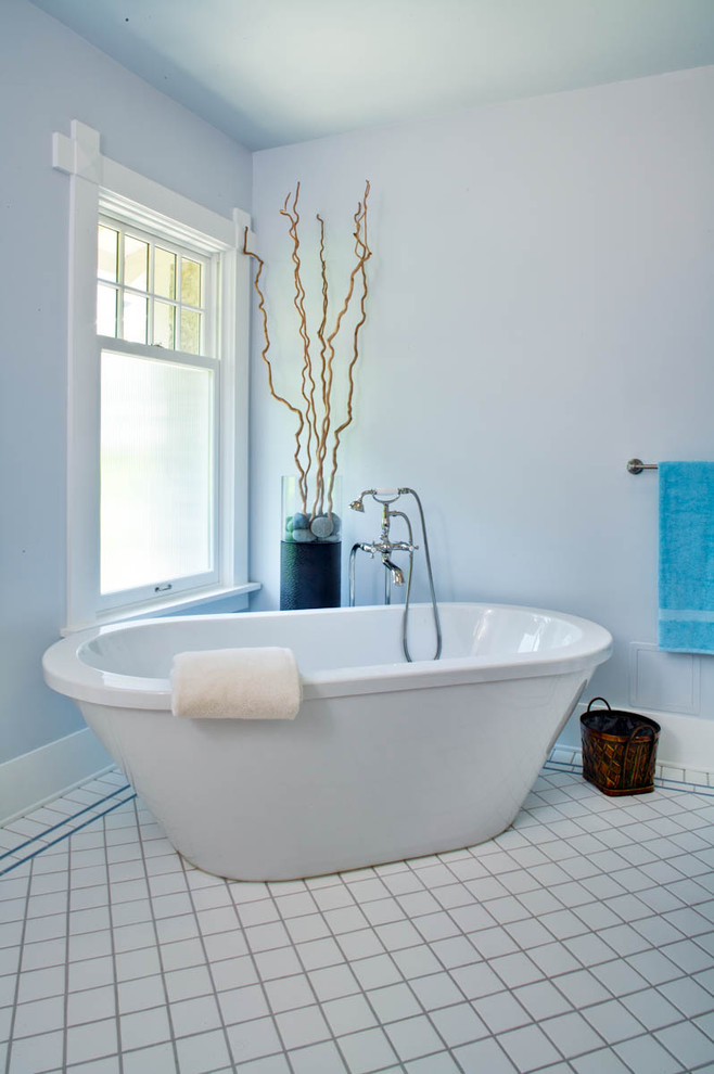 Soaker Tub Bathroom Traditional with Baseboard Bath Fixtures Blue Wall Ceramic Tile Flooring Freestanding Bathtub Painted Ceiling