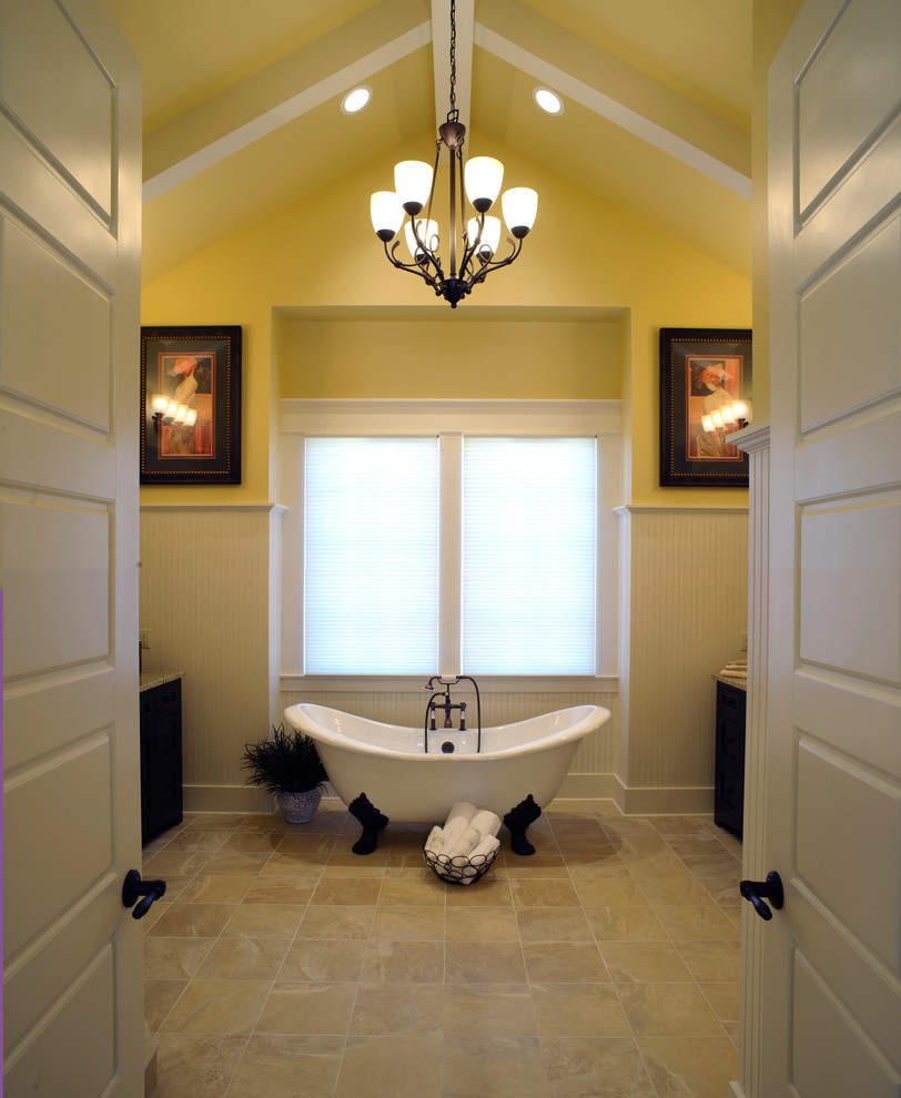 Soaker Tub Bathroom Traditional with Baseboards Beadboard Ceiling Lighting Chandelier Claw Foot Tub Exposed Beams Freestanding Bathtub