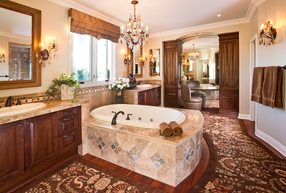 Soaker Tub Bathroom Traditional with Bathroom Bathroom Rug Bathroom Storage Bathtubs Brown Bathroom Crystal Chandelier Crystal Sconce