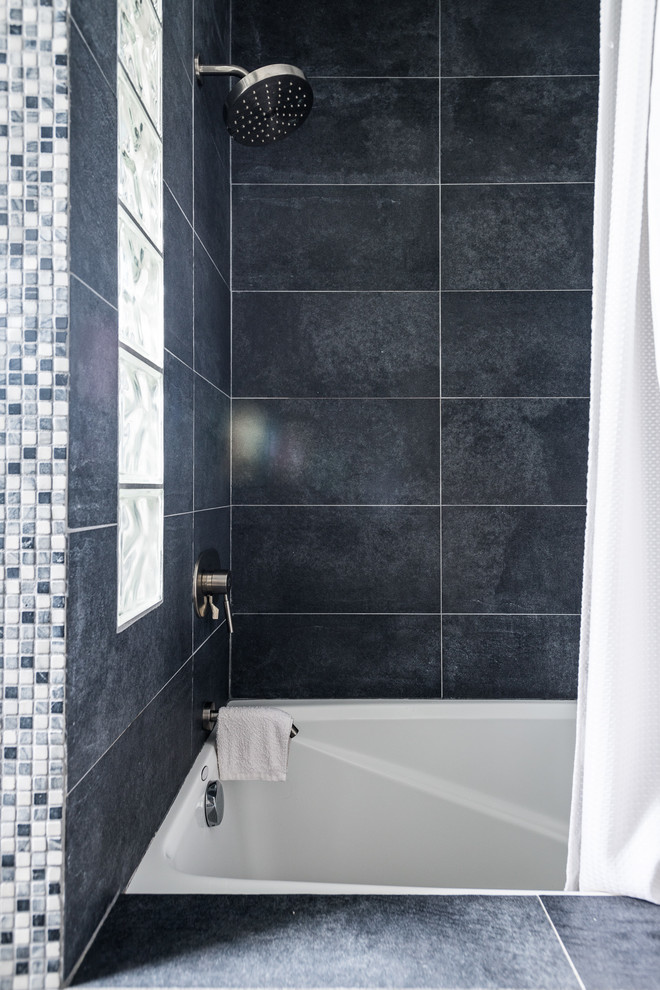 soaker tub Bathroom Traditional with bathroom glass blocks Kohler