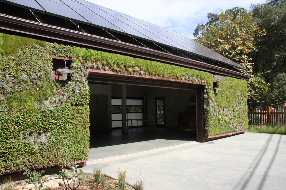 solar lamp post light Garage And Shed Contemporary with brown trim brown window trim concrete driveway driveway fence garden large wall