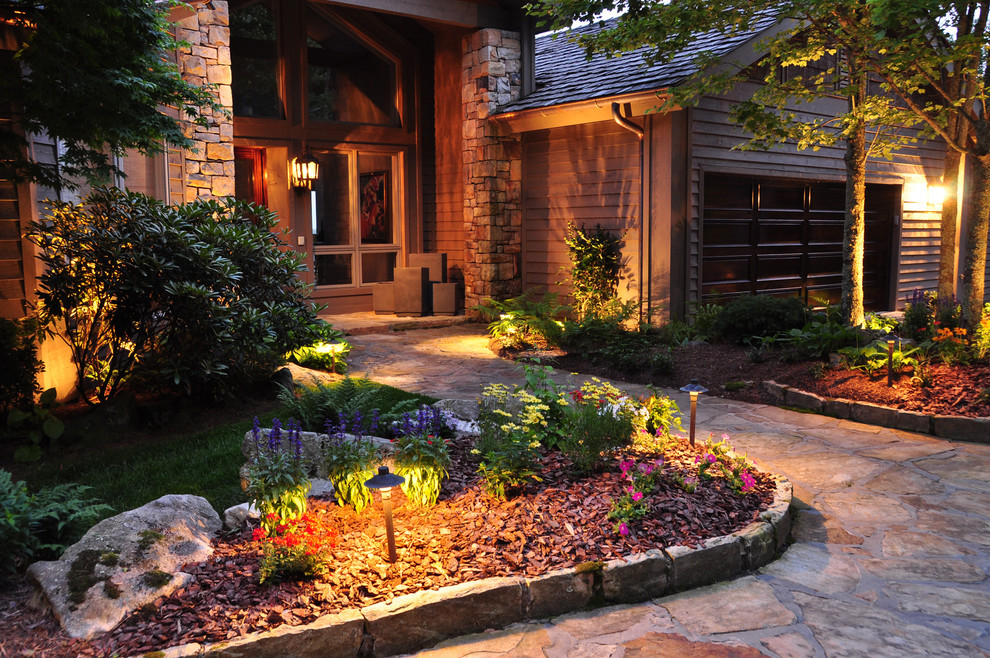 Solar Landscape Lights Landscape Traditional with Entry Outdoor Lighting Path Lights Planter Edge Design Stacked Stone Columns Stone