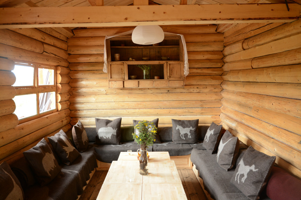 Solar Lanterns Family Room Rustic with Built in Bench Seating Built in Shelving Built in Storage Cabin Cabin Style Dining