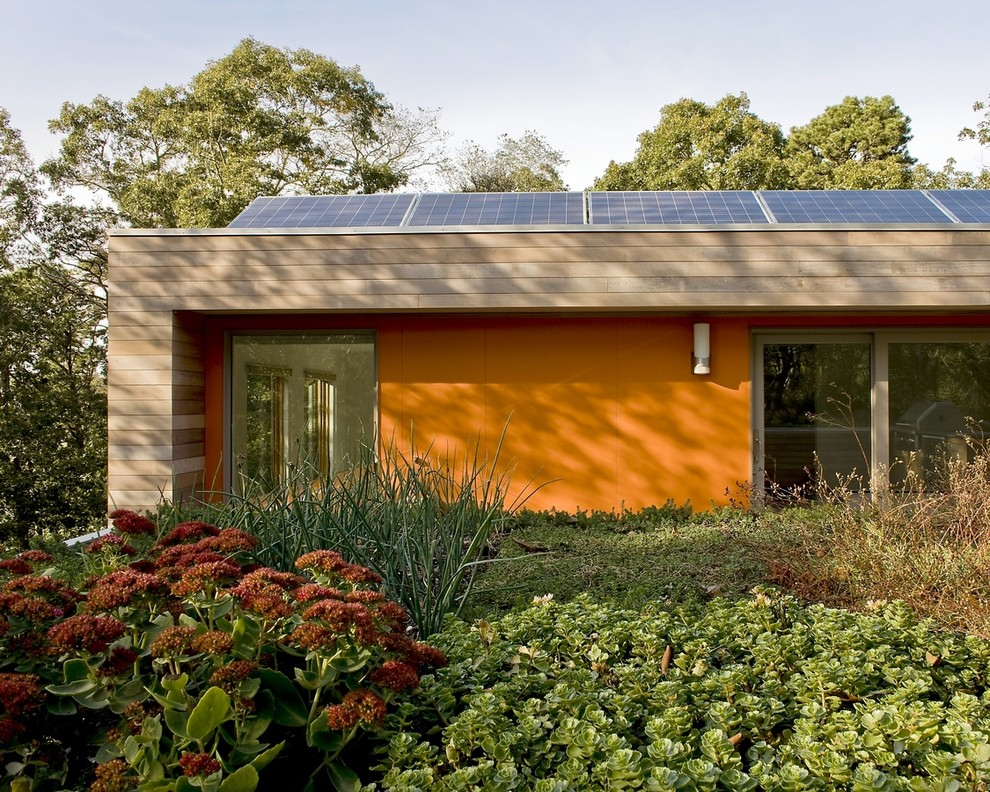 solar rope lights Exterior Modern with cedar siding fiber cement green roof LEED modern solar