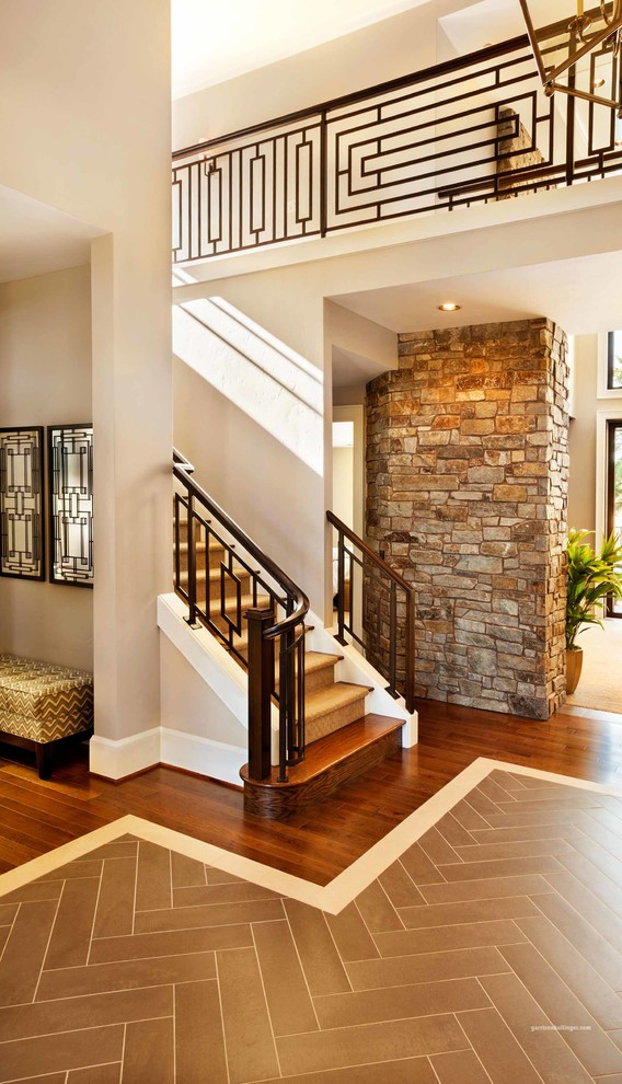 Somerset Flooring Staircase Contemporary with American Made Home Artistic Detail Balcony Inspiration Bright Space Catwalk Chevron Patterned2