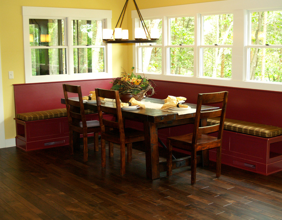 Somerset Hardwood Dining Room Traditional with Bench Chairs Chandelier Country Dining Room Red Table Traditional Windows Wood Floor