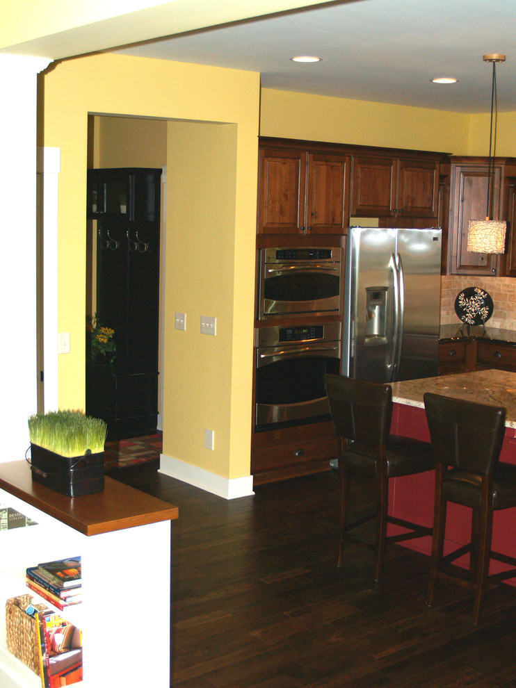 Somerset Hardwood Kitchen Traditional with Bookshelf Built in Cupboards Hallway Kitchen Stools Wood Floor Yellow