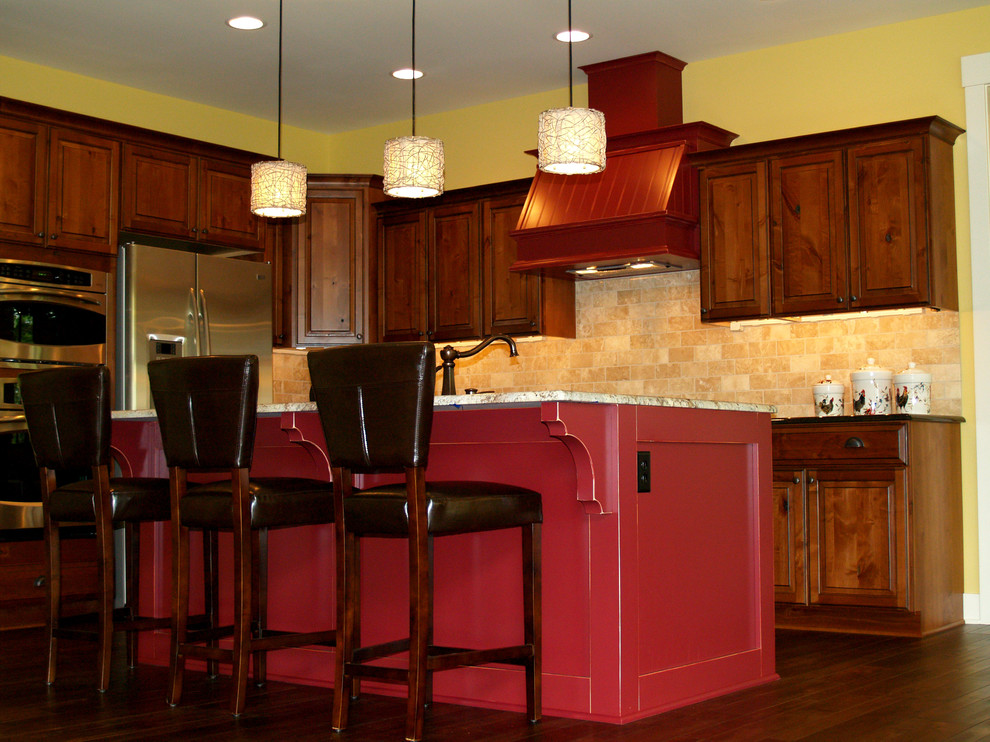 Somerset Hardwood Kitchen Traditional with Counter Cupboards Granite Kitchen Lighting Range Red Sink Stools Wood 1