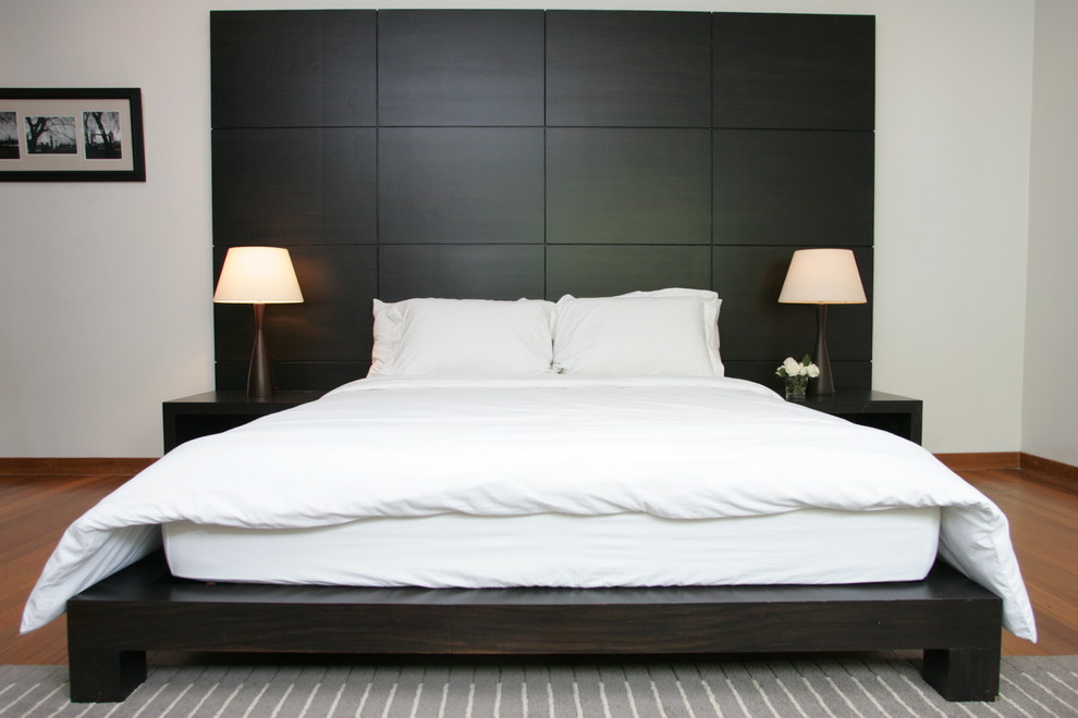 South Shore Platform Bed Bedroom Contemporary with Area Rug Black and White Black Bed Built Ins High Ceiling Low
