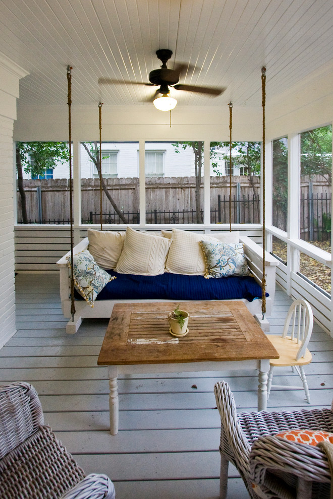 Southern Motion Furniture Reviews Porch Farmhouse with Blue and White Ceiling Fan Screened in Porch Swinging Bench Tongue And1