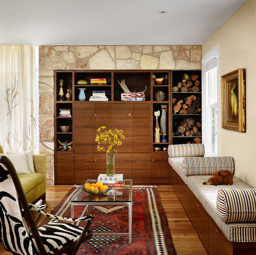 southwestern rug Living Room Midcentury with area rug bench seat custom wood cabinets glass coffee table sofa stone