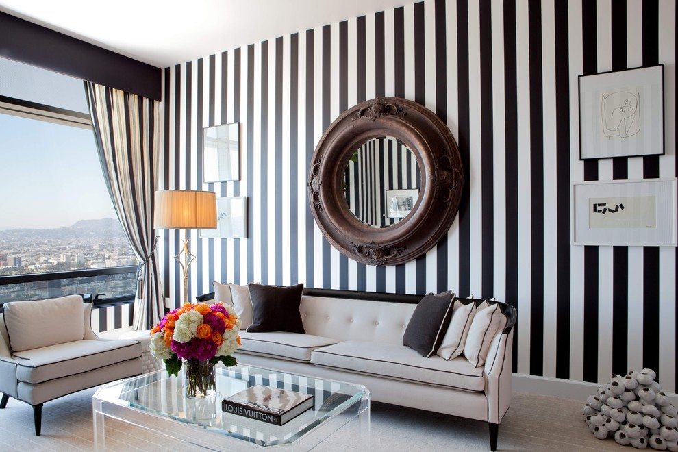 Southwestern Rugs Living Room Contemporary with Black and White Chic Den Lucite Sofa Suite Stripes Vintage Wallpaper