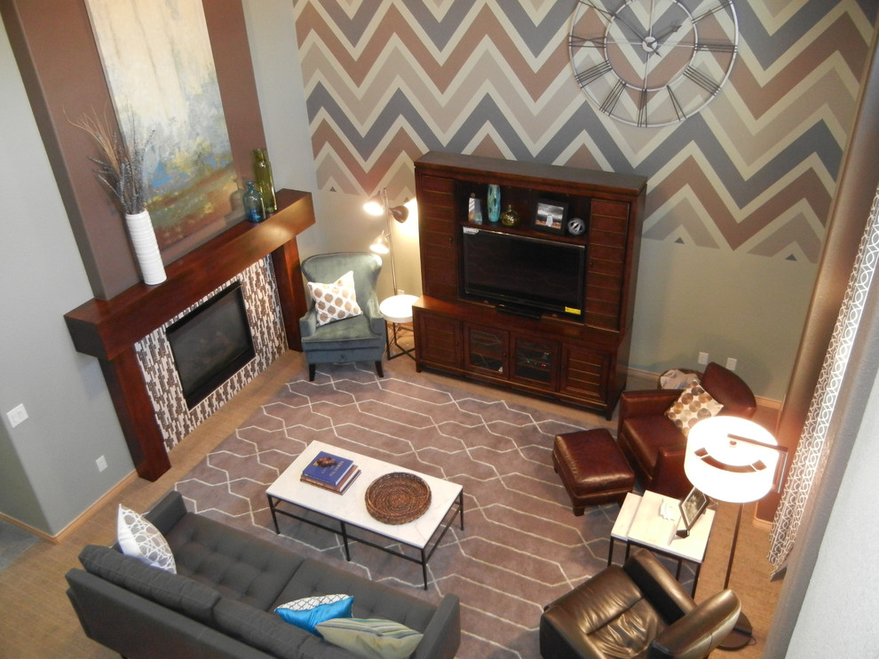 Sphinx Rugs Family Room Eclectic with Ballard Designs Chevron Chevron Paint Crate Barrel Custom Mantle Dwell Studio Forma1