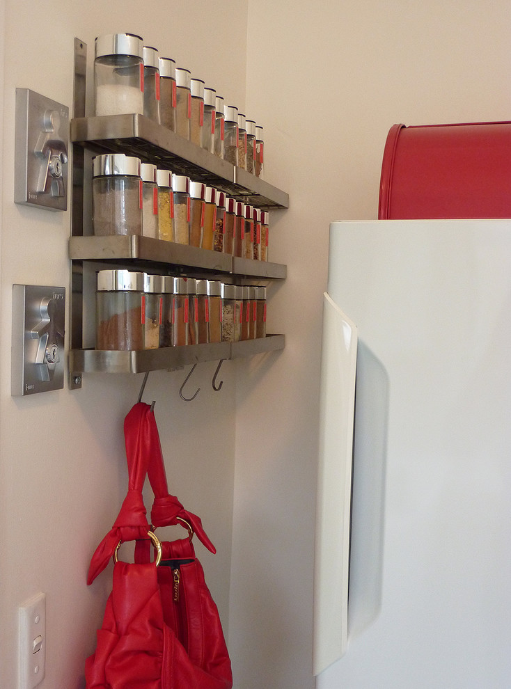 Spice Racks Kitchen Contemporary with Drop Zone Jars Keys Labels Metal Organized Organizing Rack Red Small Space