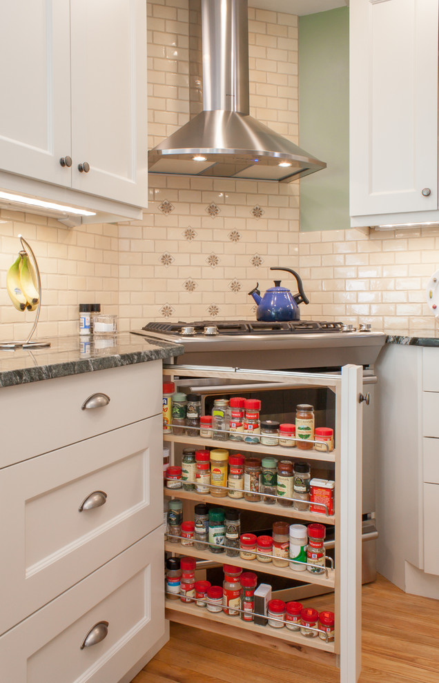 Spice Racks Kitchen Traditional with Cereamic Tile Corner Stove Granite Counter Tops Green Countertop Spice Racks For