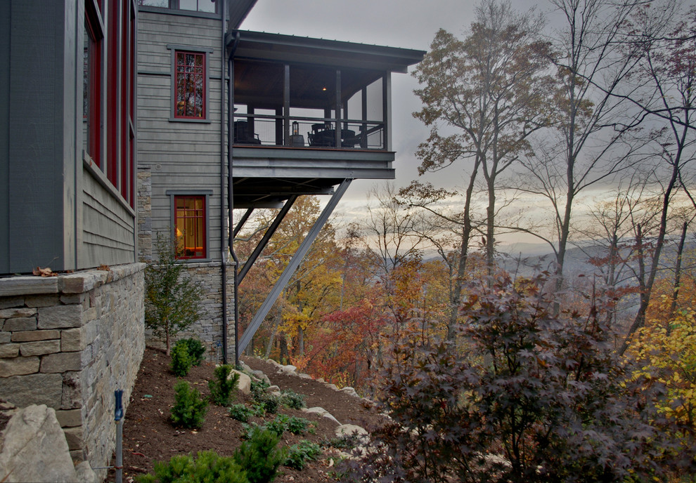 Spring Air Back Supporter Exterior Asian with Accent Color Asian Balcony Landscape Overhang Red Trim Red Windows Stone Sunroom