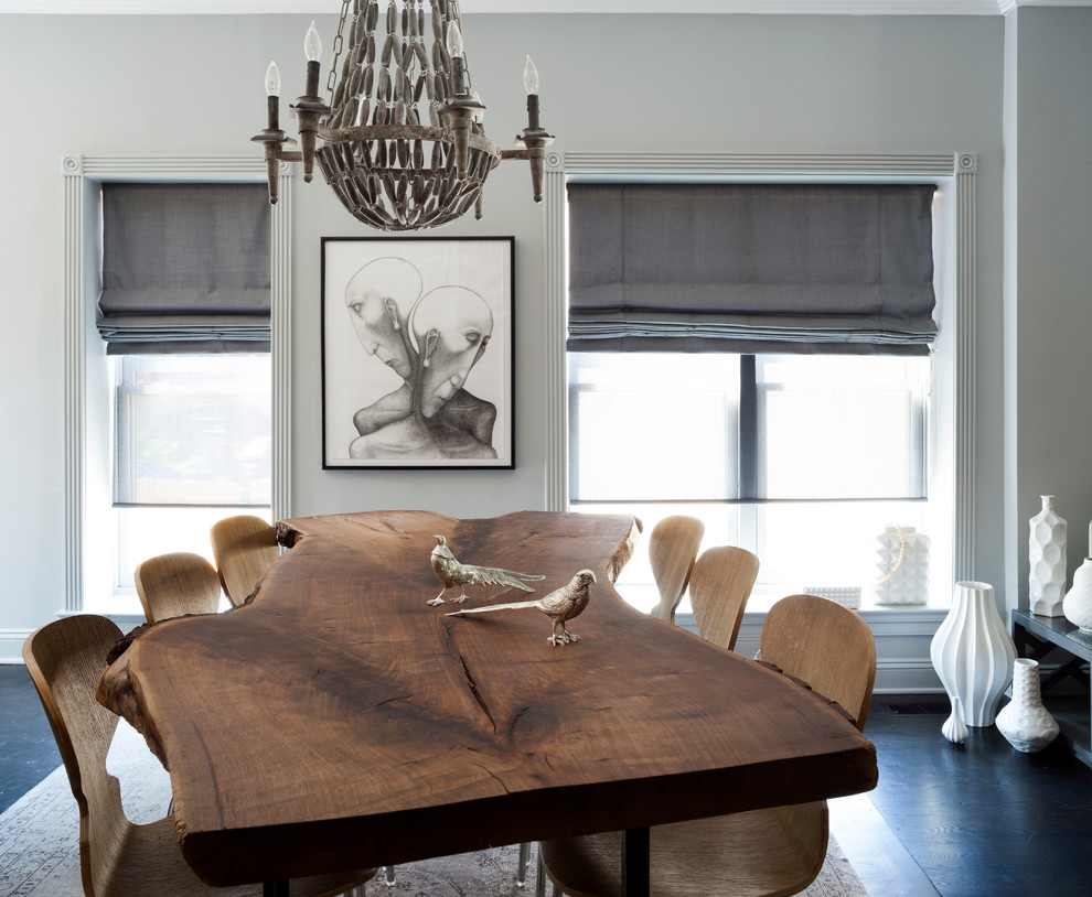 Square Dinnerware Sets Dining Room Transitional with Affordable Art Condo Condominium Contemporary Design Corner Blocks Family Friendly Gray Roman Shade