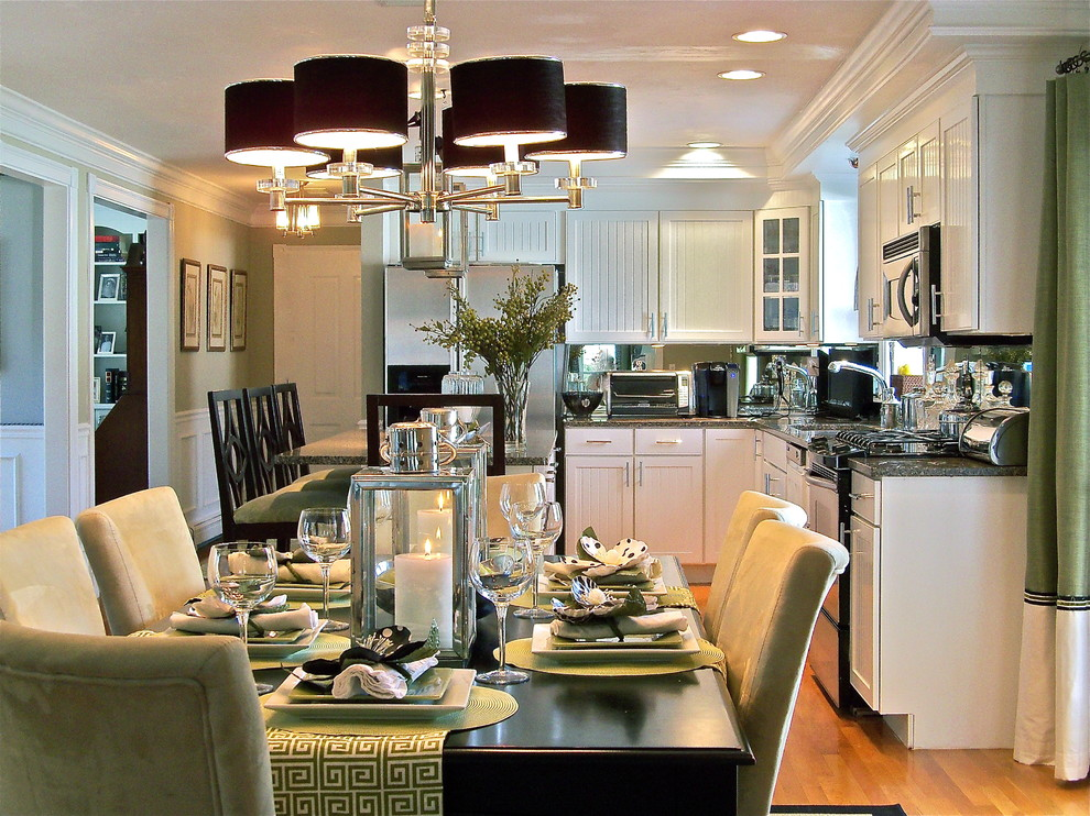 Square Placemats Kitchen Traditional with Beadboard Cabinets Black Chandelier Shades Breakfast Bar Ceiling Lighting Chandelier Chandelier Shades