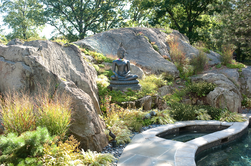 st francis garden statue Landscape Modern with boulders buddha statue garden lighting hot tub jacuzzi planters river pebbles rocks