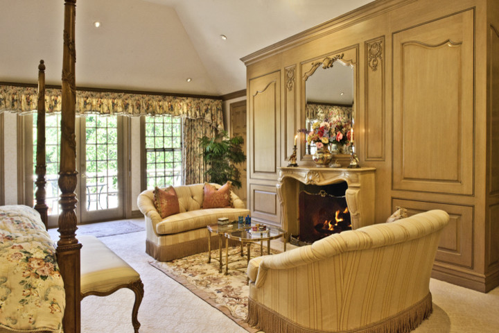 St Thomas Creations Bedroom Traditional with Carved Cast Stone Firelace French Door Tufted Loveseat Wood Paneling