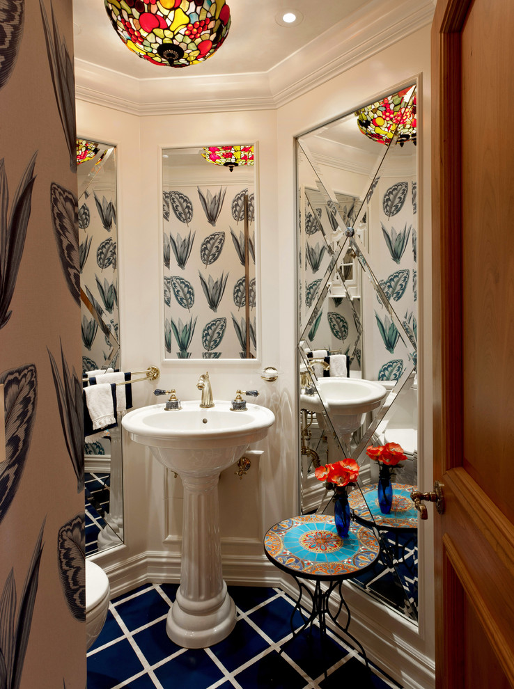 St Thomas Creations Powder Room Mediterranean with Ceiling Light Crown Molding Floor Treatment Full Length Mirror Mirror Mixed Patterns