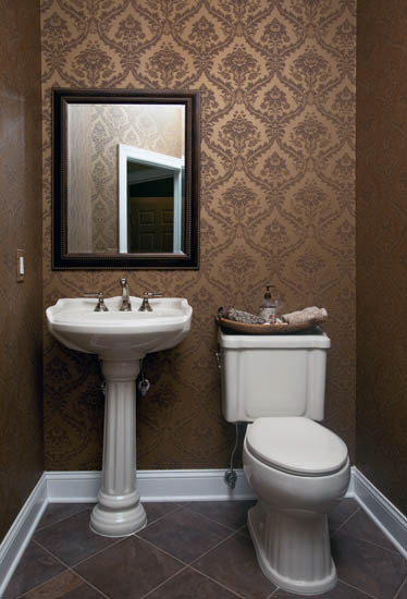 St Thomas Creations Powder Room Traditional with Bathroom Accessories Bathroom Fixtures Bronze Bronze Damask Wallpaper Bronze Mirror Damask Wall