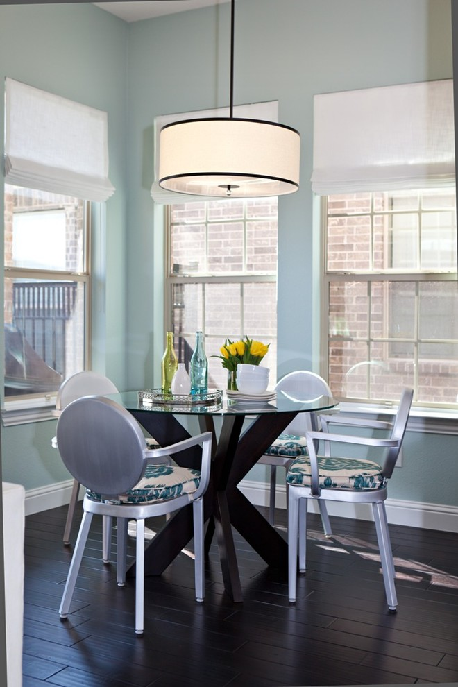 Stackable Patio Chairs Dining Room Transitional with Aluminum Chairs Baseboard Blue and Brown Breakfast Nook Chair Cushions Dark Wood