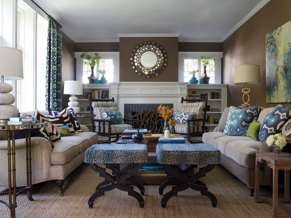 Stackable Patio Chairs Living Room Contemporary with Animal Prints Annie Lowengart Area Rug Blue Accents Brown Wall Brown Walls