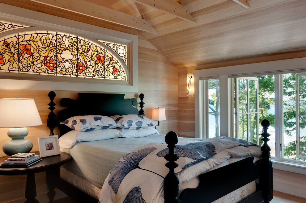 Stained Glass Window Panels Bedroom Beach with Antique Casement Windows Cottage Exposed Beams Four Poster Bed Large Windows Maine Natural