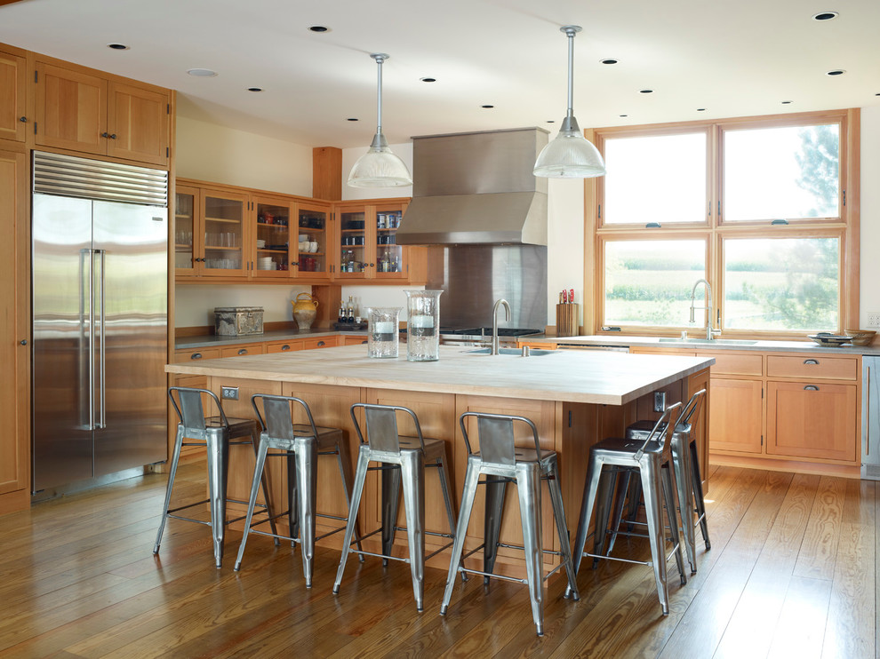 Stainless Steel Bar Stools Kitchen Farmhouse with Breakfast Bar Ceiling Lighting Eat in Kitchen Farm House Glass Front Cabinets Island
