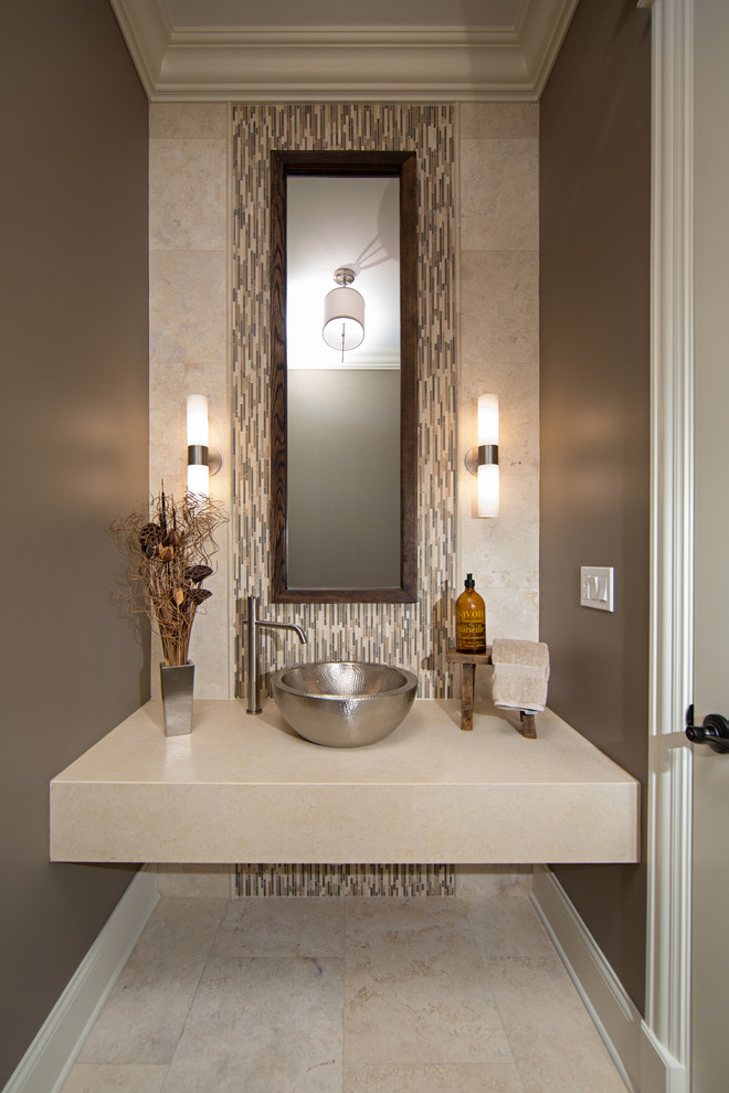 Stainless Steel Bowls Powder Room Contemporary with Accent Wall Beige Floor Tile Floating Countertop Hammered Stainless Steel Sink Single