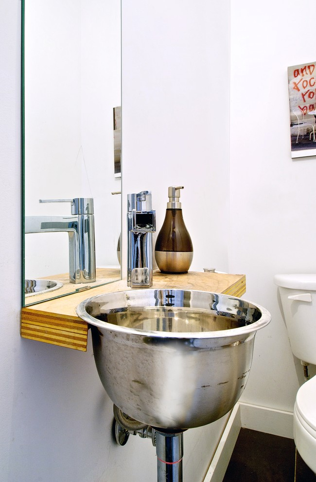 Stainless Steel Bowls Powder Room Industrial with Black Tile Chrome Floating Shelf Mirror Modern Baseboard Modern Sink My Houzz