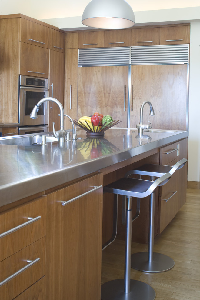Stainless Steel Frying Pan Kitchen Contemporary with Bar Stool Breakfast Bar Cabinet Front Refrigerator Cabinet Refrigerator Counter Stool Eat