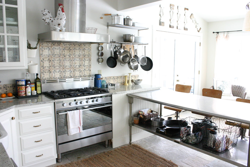 Stainless Steel Roasting Pan Kitchen Eclectic with Beadboard Chicken Wire Glass Front Cabinets Jute Rug Pot Rack Stainless Steel