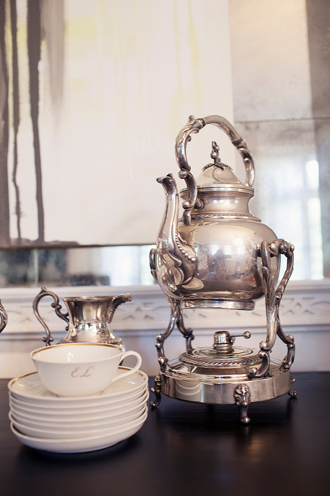 Stainless Steel Teapot Dining Room Transitional with Fine China Porcelain Dishes Stainless Steel Teapot