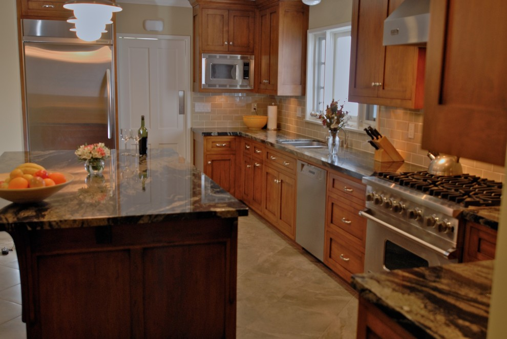 stainless steel teapot Kitchen Traditional with built in cabinets center island custom-made dark granite high end finishes stainless