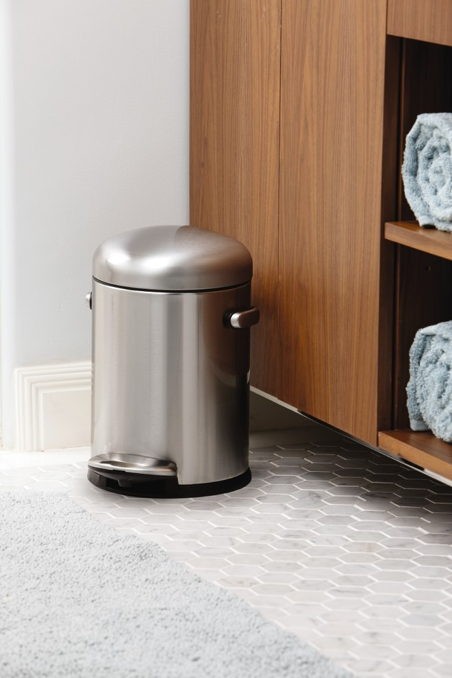 Stainless Steel Trash Cans Bathroom Contemporary with Bath Bathroom Retro Simplehuman Stainless Steel Trash Can