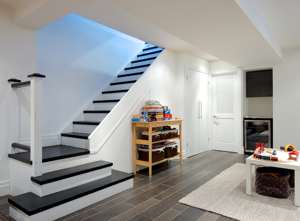 Stair Nose Staircase Contemporary with Board Games Floor Tile Games No Handrail No Railing Play Area Playroom