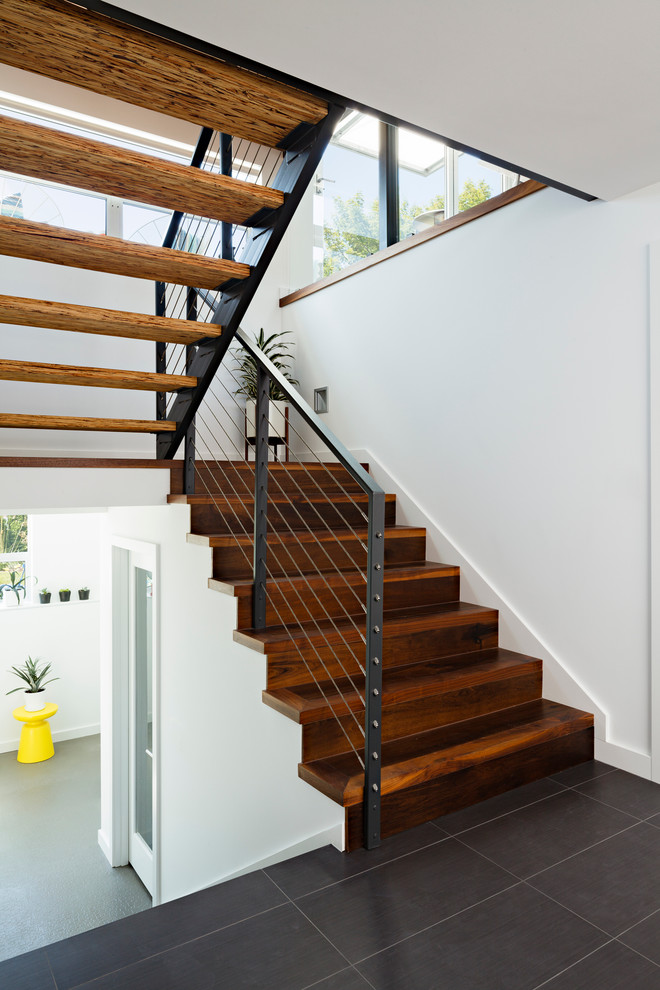 Stair Nose Staircase Contemporary with Cable Railing Glass Railing Gray Tile Grey Tile Open Riser Open Stair