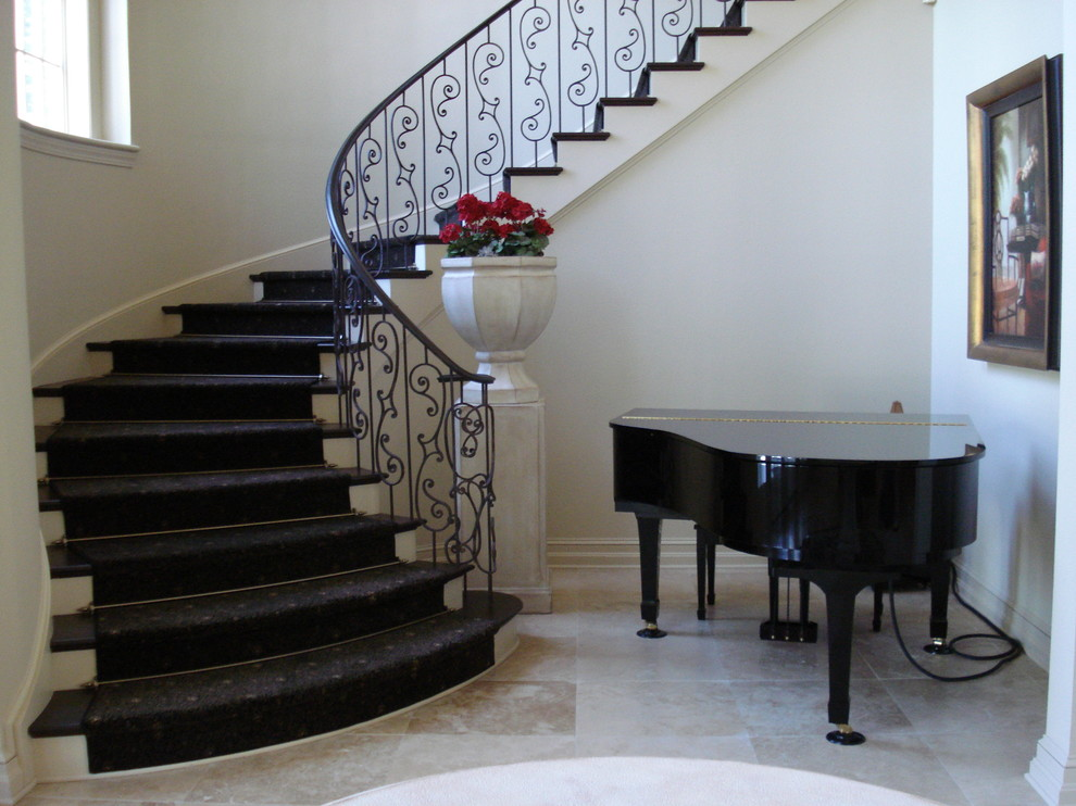 Entry Foyer Runner : Stair rods staircase traditional with baseboards carpet runner