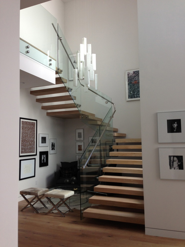 Stair Treads Staircase Contemporary with Art Chandelier Fixture Glass Lighting