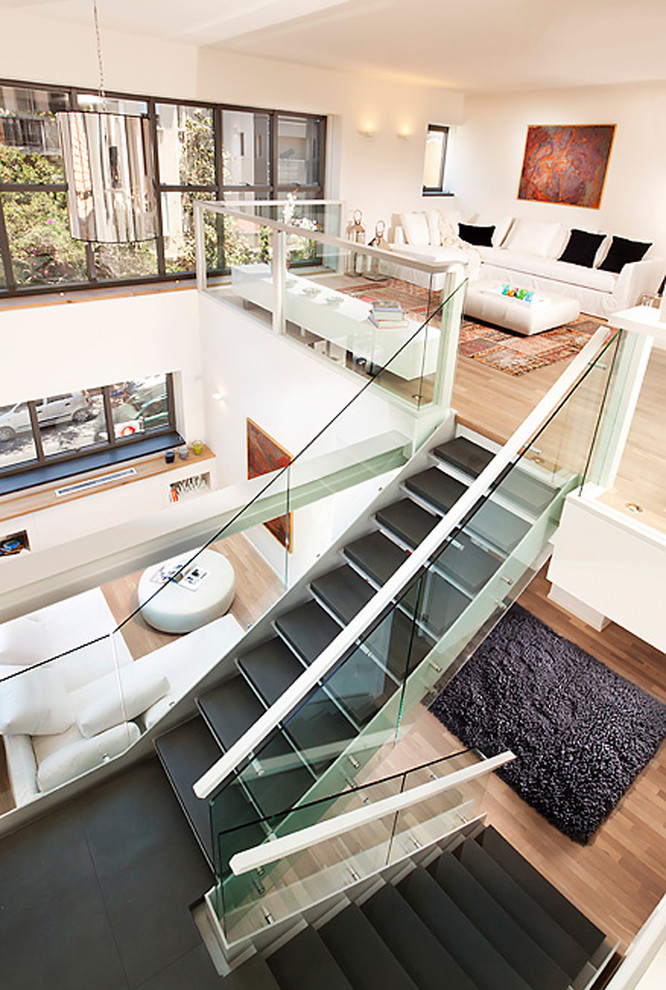 Stair Treads Staircase Contemporary with Balcony Black and White Black Stairs Glass Railing Handrail Loft Open Floor